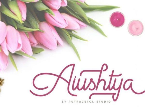 Aiushtya Free Modern Calligraphy Font