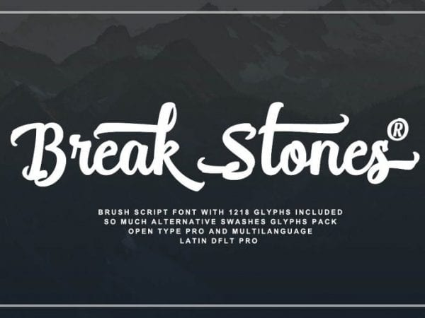 Break Stones Brush Calligraphy Font