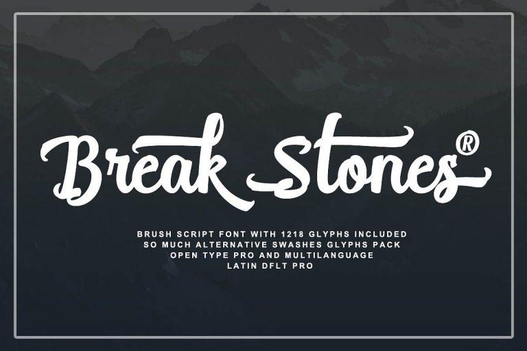 Break Stones Brush Calligraphy Font