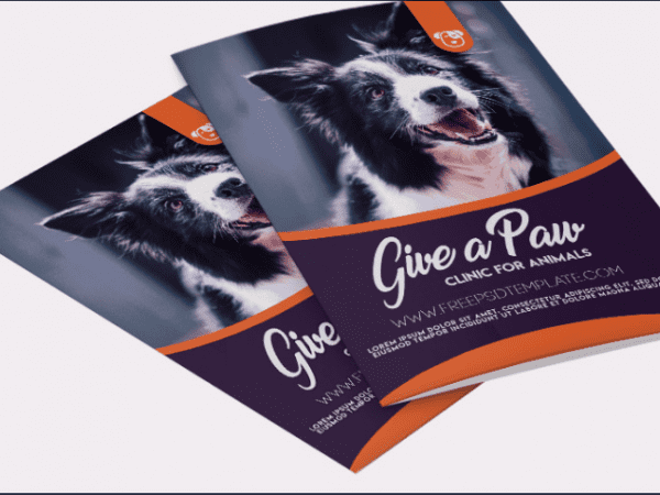 Clinic For Animal Bifold Brochure PSD Template