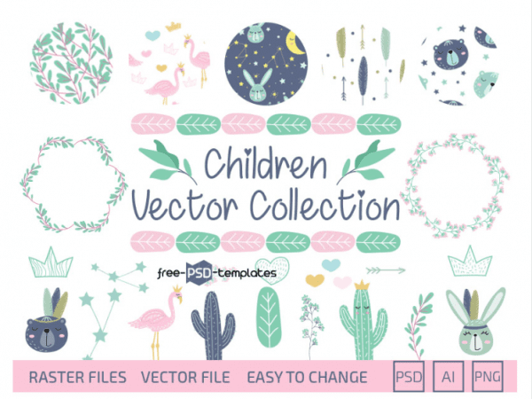 Collection Of Children Free Vector