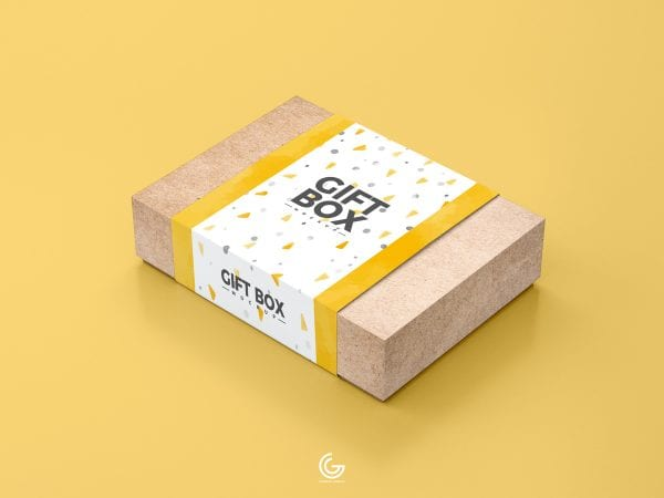 Craft Paper Gift Box Mockup PSD Template