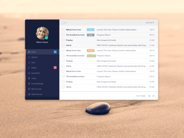 Free Email App Design In PSD