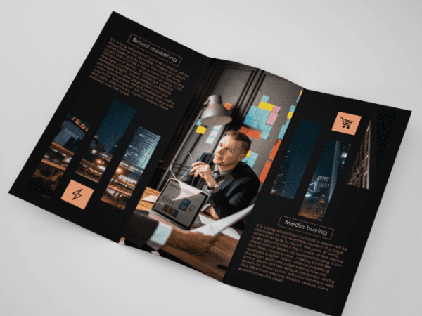 Free Marketing Company Tri fold Brochure Template PSD