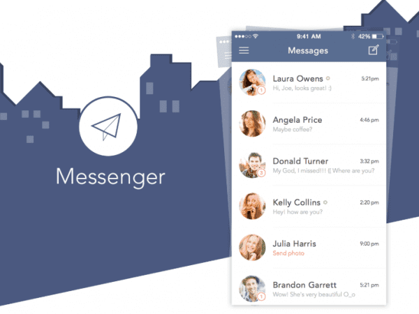 Free Messenger ios App Sketch In PSD