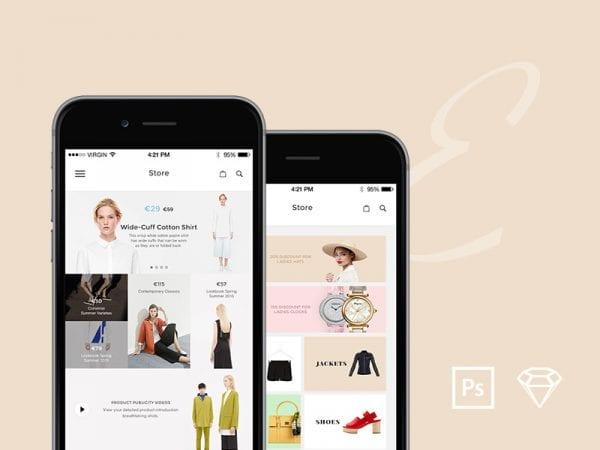 Free e-commerce UI Kit PSD Template