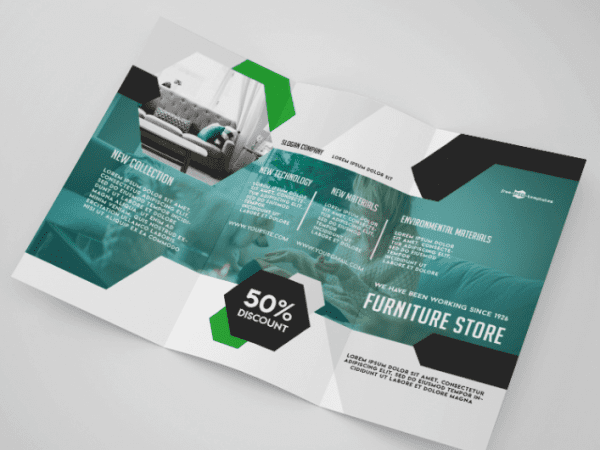 Furniture Store Tri fold Brochure Mockup PSD Template