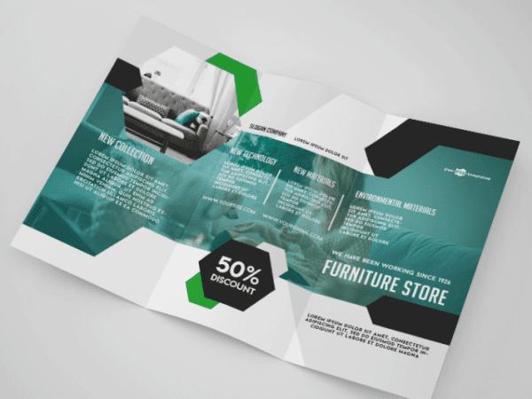Furniture Store Tri fold Brochure Mockup PSD Template