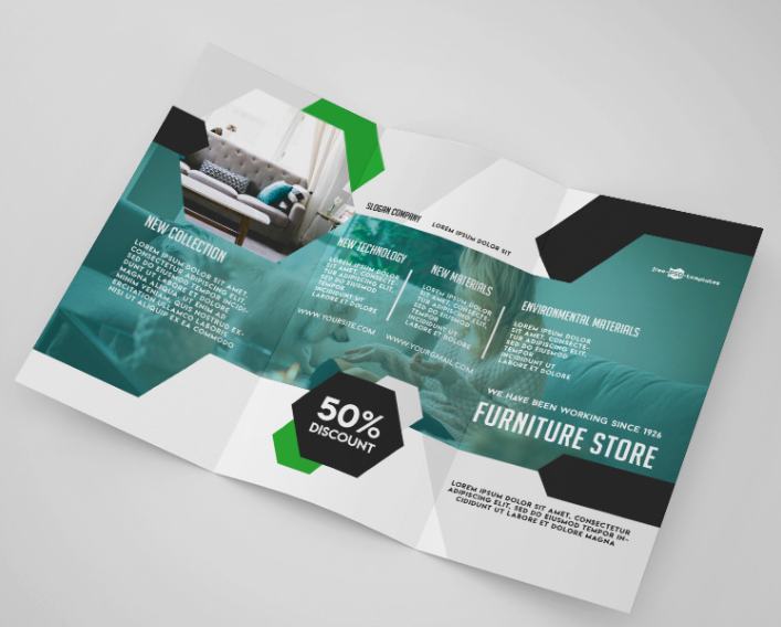 Furniture Store Tri fold Brochure Mockup PSD Template ...
