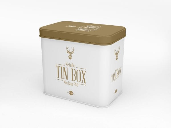 Metallic Tin Box MockUp PSD Template