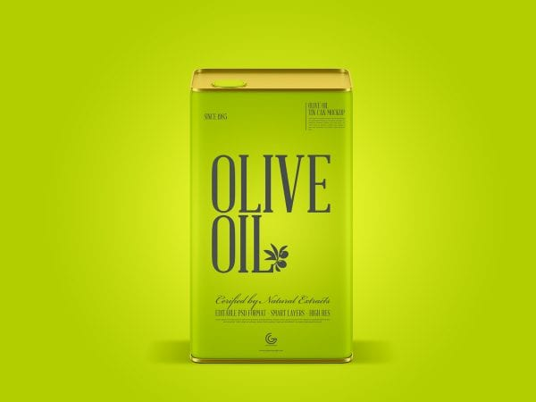 Olive Oil Tin Can PSD MockUp Template