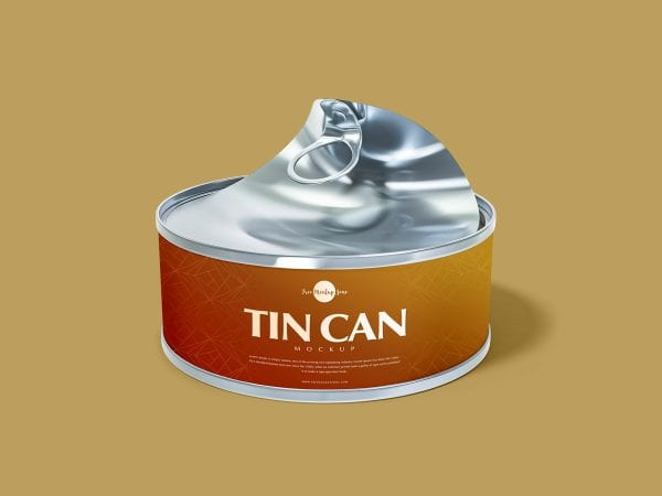 Open Tin Can Mockup PSD Template