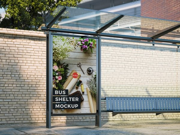 Outdoor Advertisement Bus Shelter Mockup PSD Template