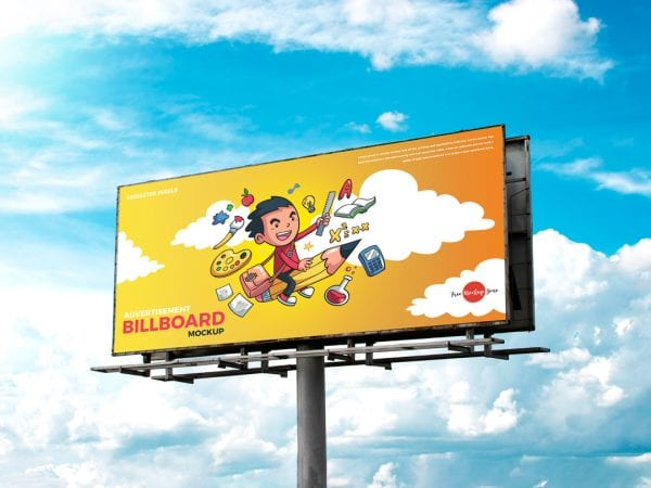 Realistic Outdoor Advertisement Billboard Mockup PSD Template
