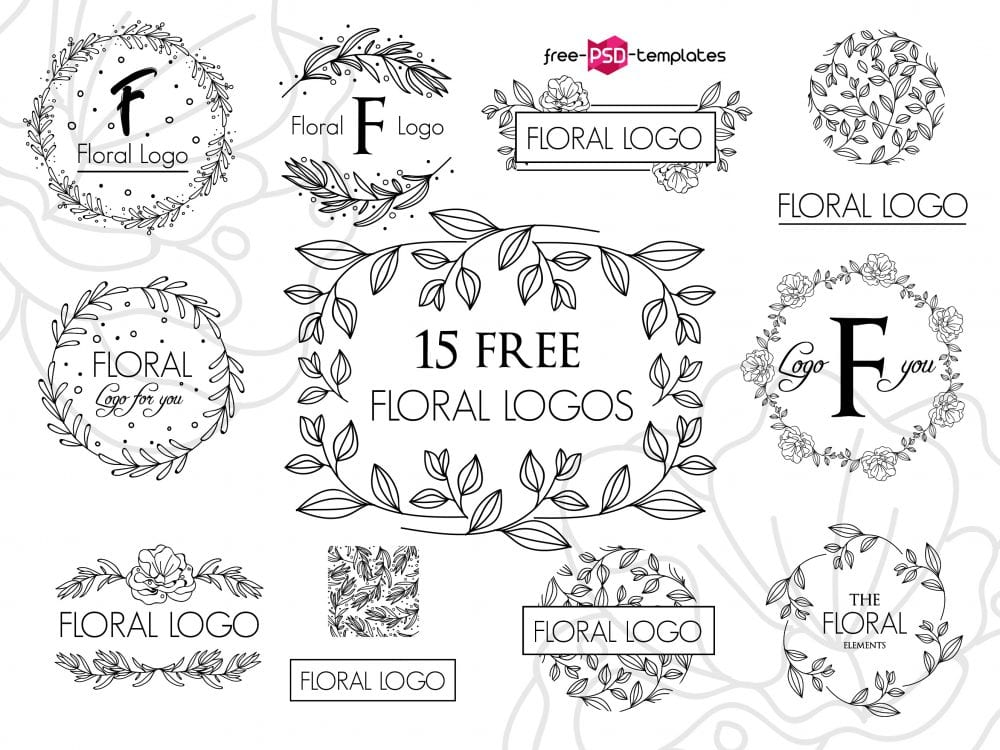 Set Of 15 Free Floral Vector Logos Mockup Free Downloads