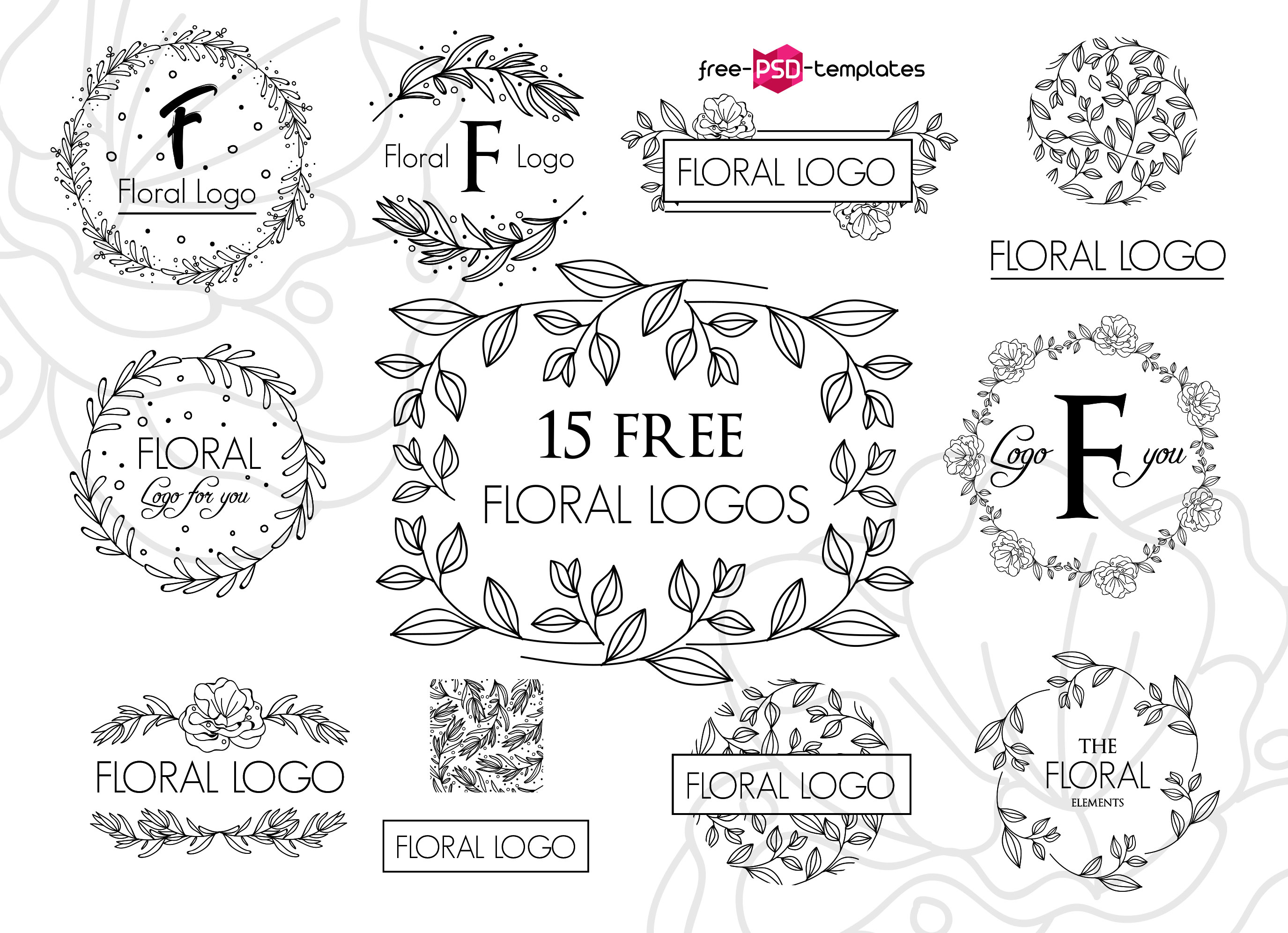 Set Of 15 Free Floral Vector Logos - Mockup Free Downloads
