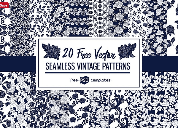 Set Of 20 Vintage Seamless Pattern