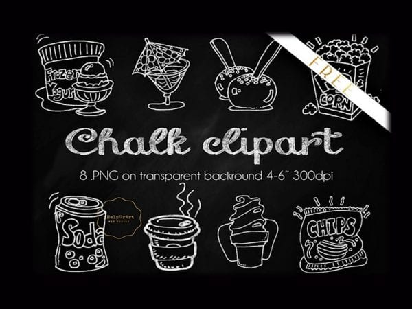 Set Of 8 Chalky Food Clipart