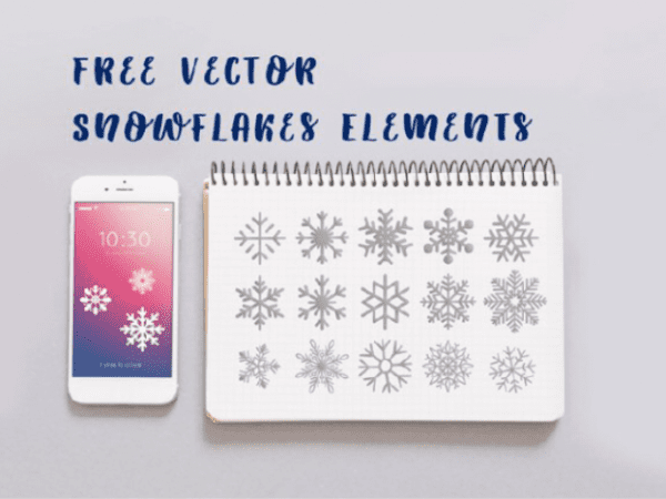 Set Of Free Snowflake Vector