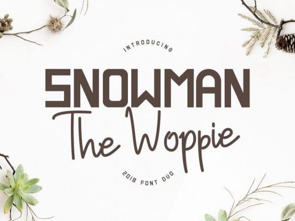 Snowman The Woppie Sans Serif Script Font