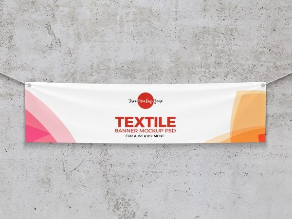 Textile Banner PSD MockUp Template