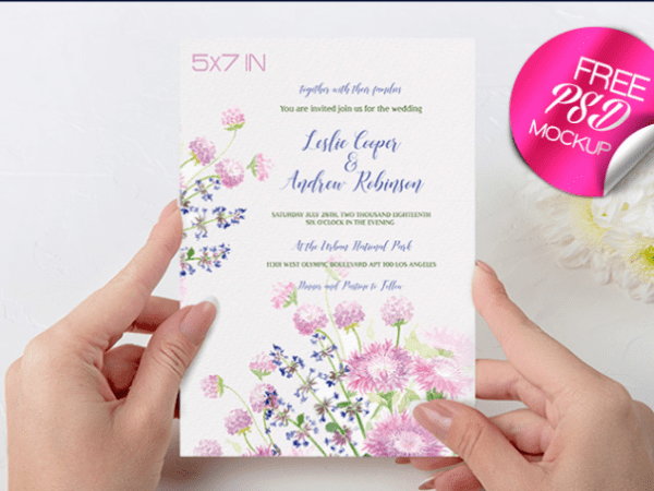 Wedding Invitation Mockup PSD Free Template