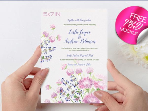 Wedding Invitation Mockup PSD Free Template