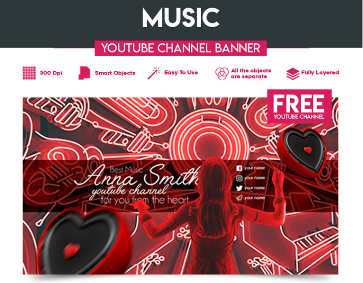 Youtube Channel Banner Free PSD Template