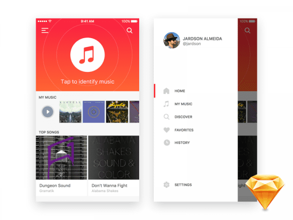 iOS Music App Design In PSD