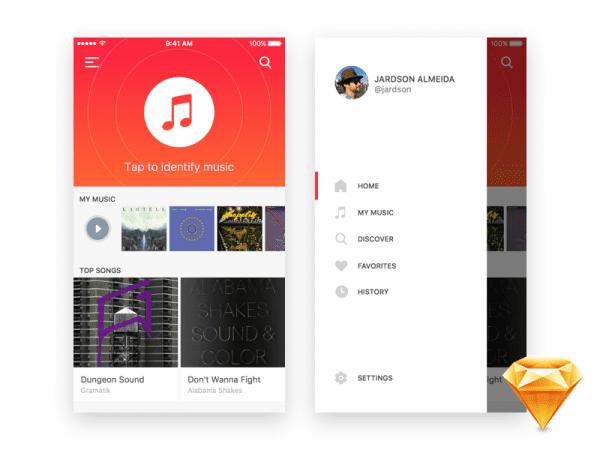 iOS Music App Design In PSD