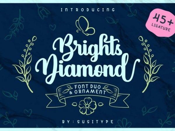 Brights Diamond Handwritten Script Font