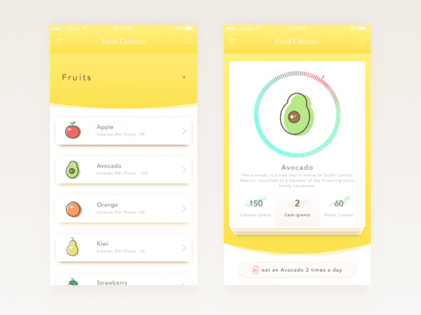 Calories In Food App Design