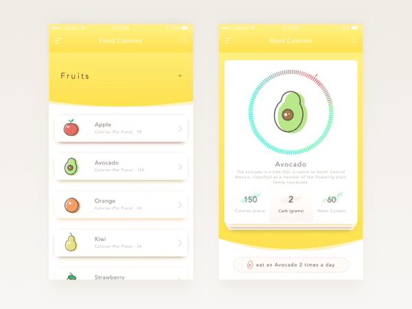 Calories In Food App Design