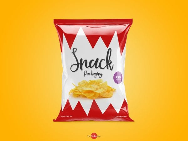 Eye-catching Snack Packaging MockUp PSD Template