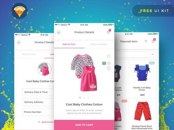 Free Baby Shopping Online App UI Kit