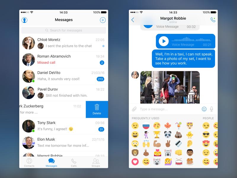 Free Messenger UI Kit App Design In PSD - Mockup Free Downloads