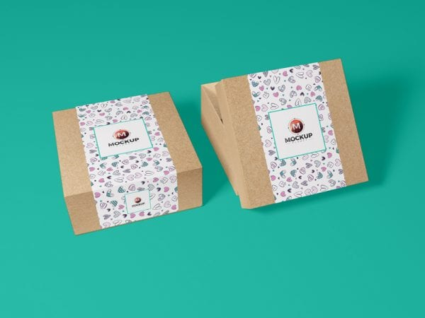 Kraft Paper Gift Box PSD Mockup