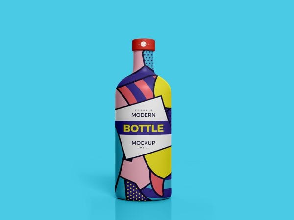 Modern Bottle Mockup PSD Free Template