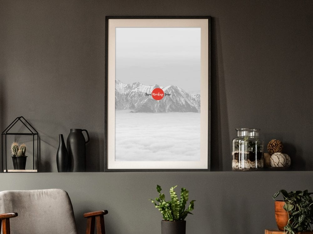 Office Interior Frame Poster Mockup Psd Template Mockup