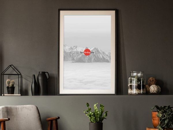 Office Interior Frame Poster Mockup PSD Template