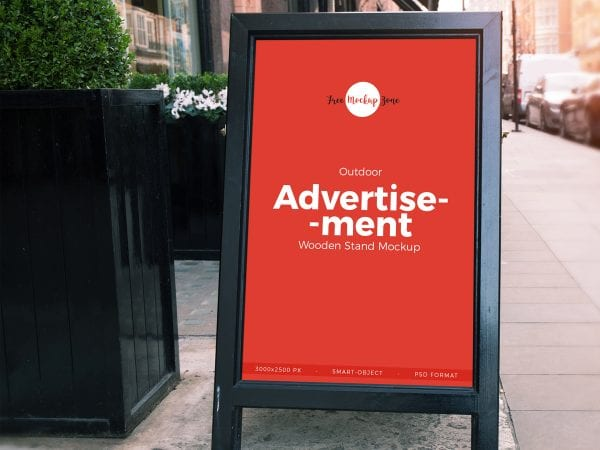 Outdoor Advertisement Banner Stand Mockup PSD Template