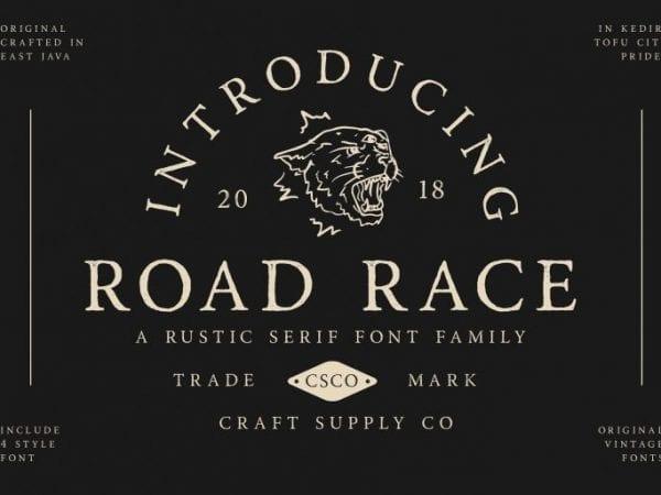 Road Race Rustic Serif Font