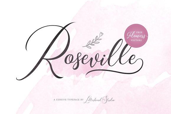 Roseville Free Handmade Calligraphy Font