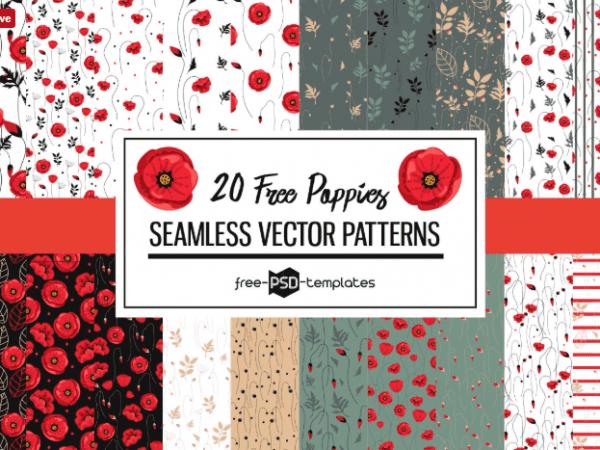 Set Of 20 Poppies Free Patterns