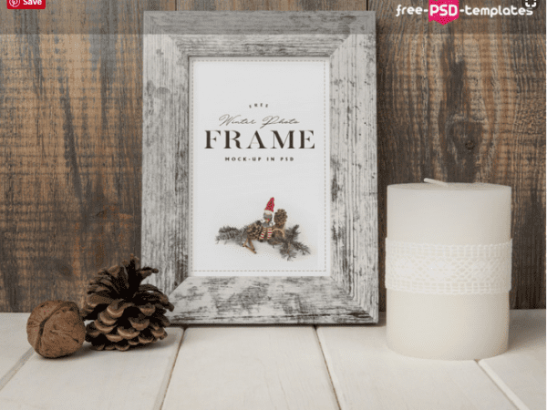 Winter Photo Frame PSD MockUp Template