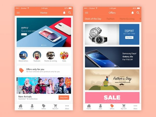 eCommerce iPhone App Design In PSD