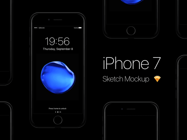 iPhone 7 jet black PSD Mockup Sketch App