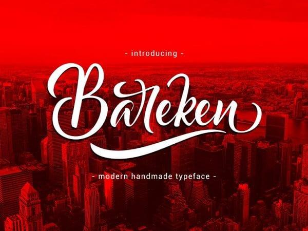Bareken Free Handwritten Calligraphy Font