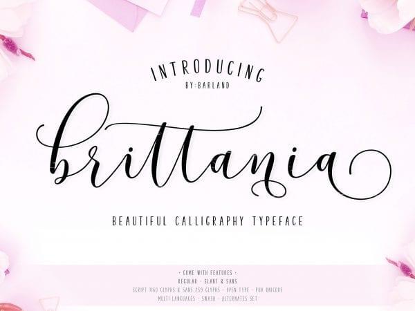 Brittania Handwritten Calligraphy Font