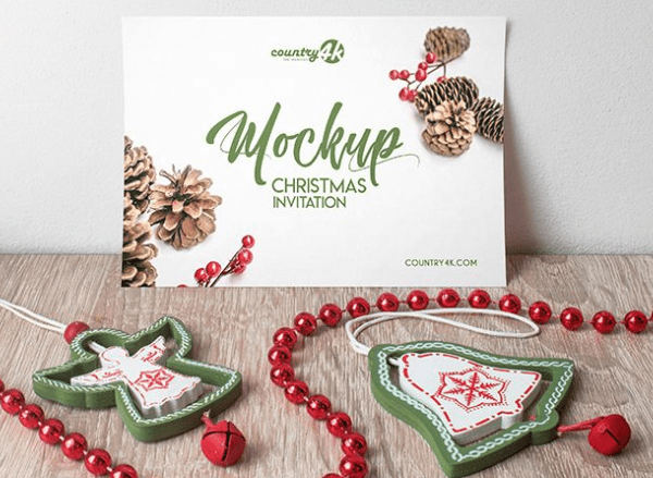 Christmas Invitation Card Free PSD MockUp